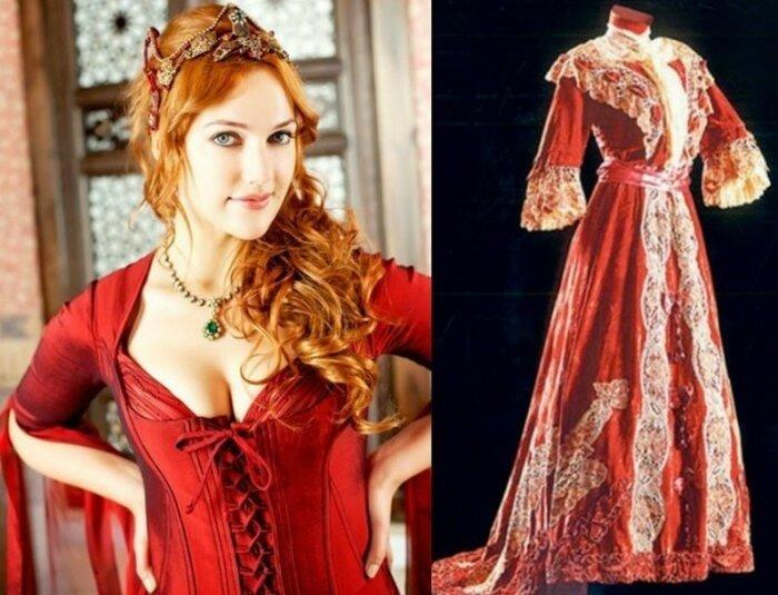 Мерьем Узерли в роли Хюррем и традиционный османский наряд