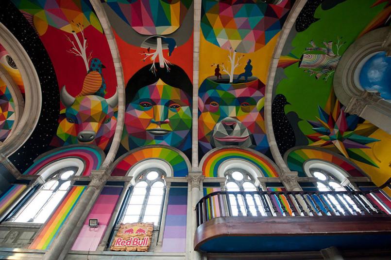 The Skate Church: Murals by Okuda San Miguel