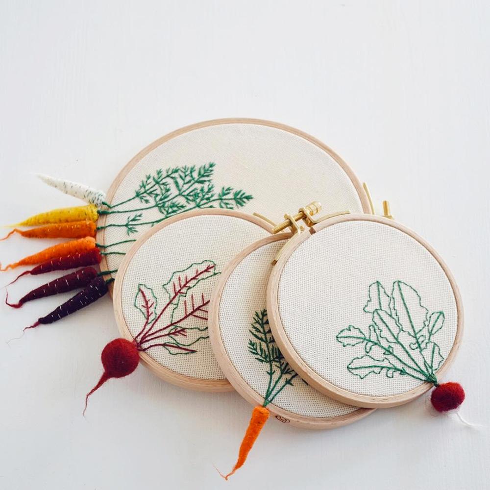 Felted Veggies Cling to Embroidery Hoops by Veselka Bulkan