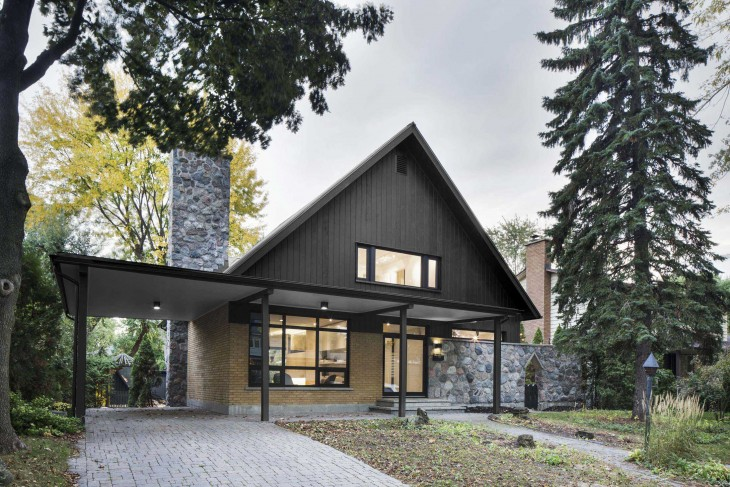 Designed by Naturehumaine , this suburban home on Montreal's south shore was built by the father of