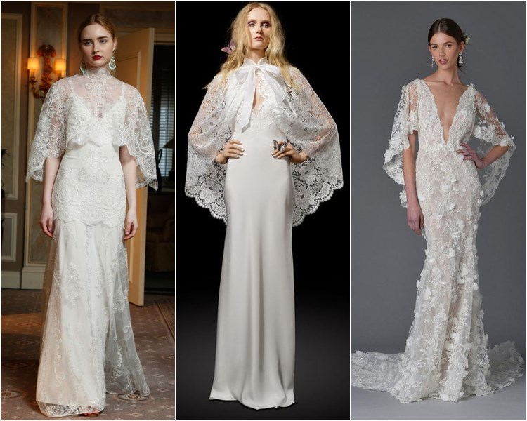 Модные свадебные платья весна-2017: кружевные с накидками