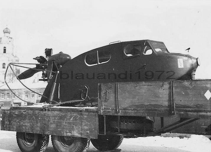 Захваченные аэросани ОСГА-6 на автоприцепе.