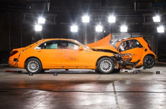 Занимательный краш-тест Smart Fortwo против Mercedes-Benz S-Class. Международная организация Euro NC