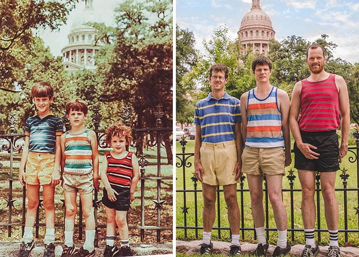 «1984 и 2013 год — мы с братьями воспроизвели отпускную фотографию на фоне Капитолия штата Техас».