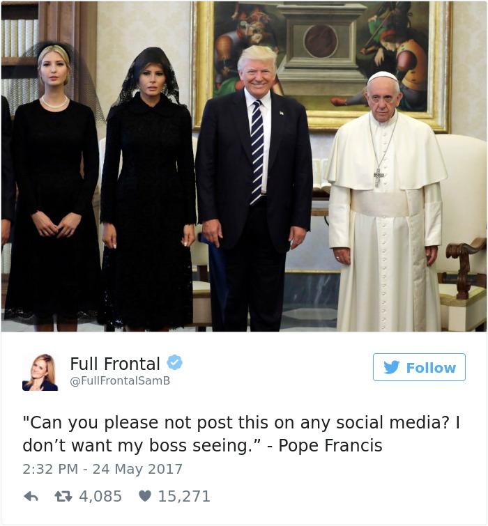 Когда тебя спрашивают, как прошел визит в Ватикан: Меланья и Иванка: «Без комментариев». Дональд Тра