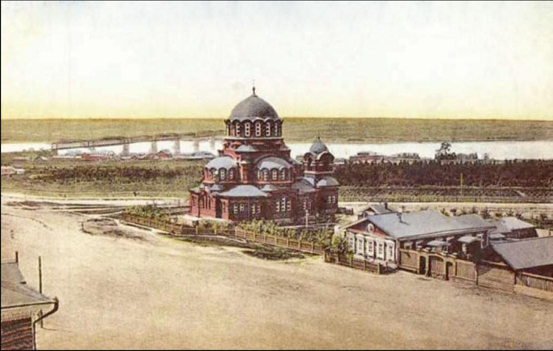 Вид на городской сад и собор