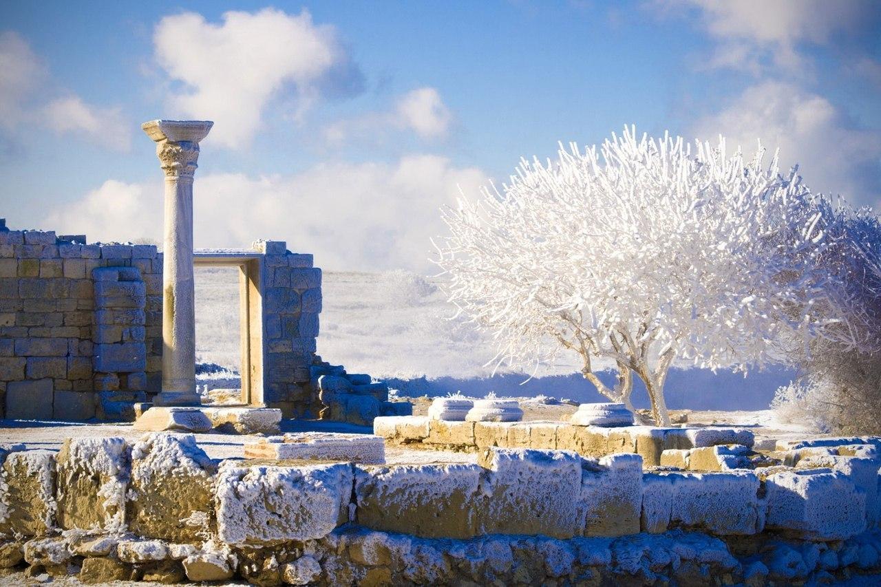 Херсонес в снегу, крым, черное море