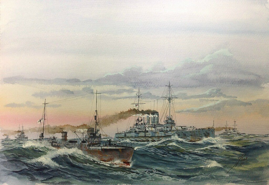 SMS Thuringen and a typical Torpedo boat.