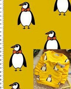 Футер 2х нитка с начесом Пингвины на желтом. Плотность 200г/м,Ширина 180см, 100% хлопок,  цена предзаказа 380р, цена наличия 420р