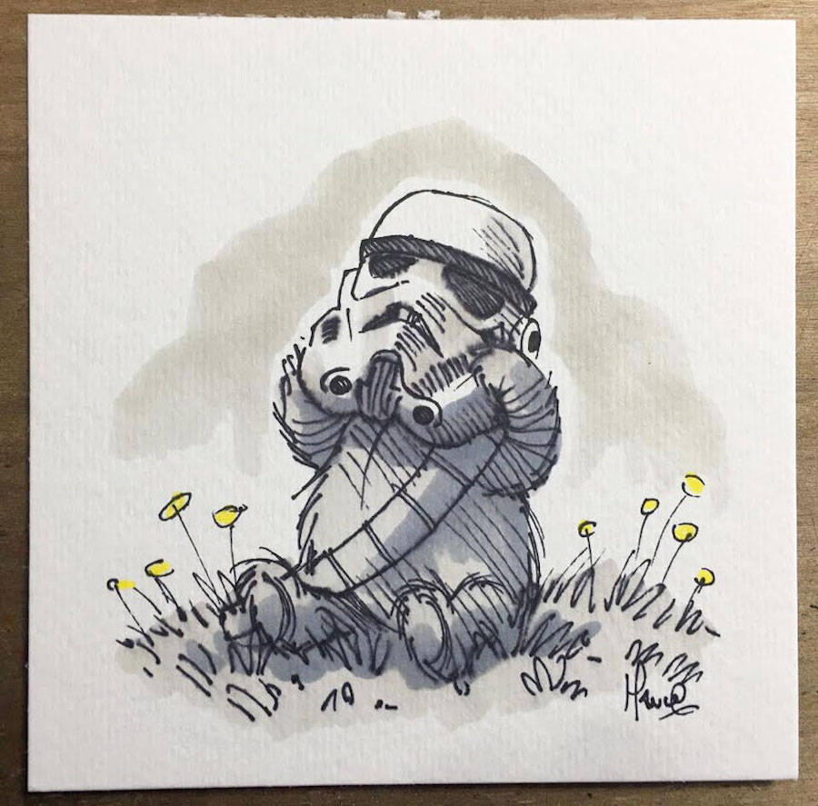 Star Wars Characters Drawn As Winnie The Pooh And Friends