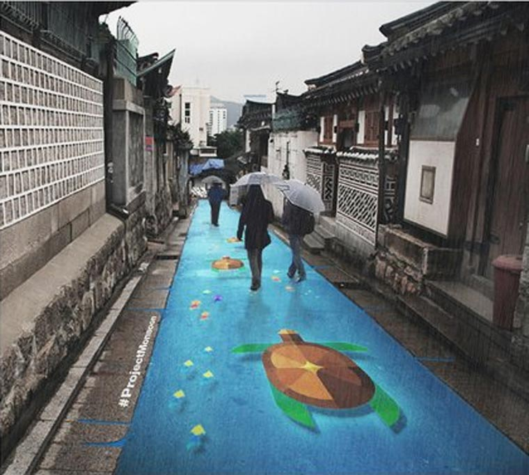 Project Monsoon - Clever colorful street art that only appears when it rains