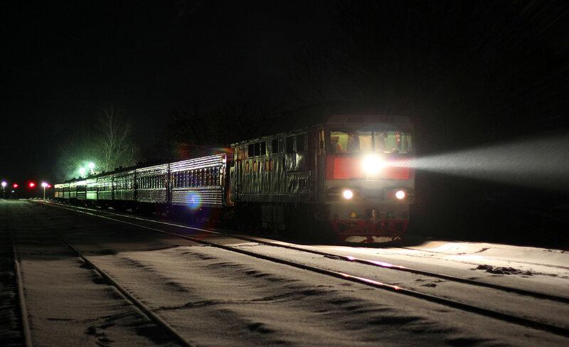Поезд 087 Питер - Смоленск под ТЭП70-0246 на станции Высокое, ОКТ ЖД