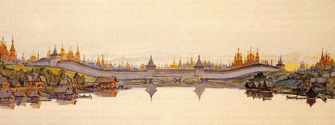 Панорама северной линии монастырей-сторож по долине реки Неглинки в 17 веке..jpg