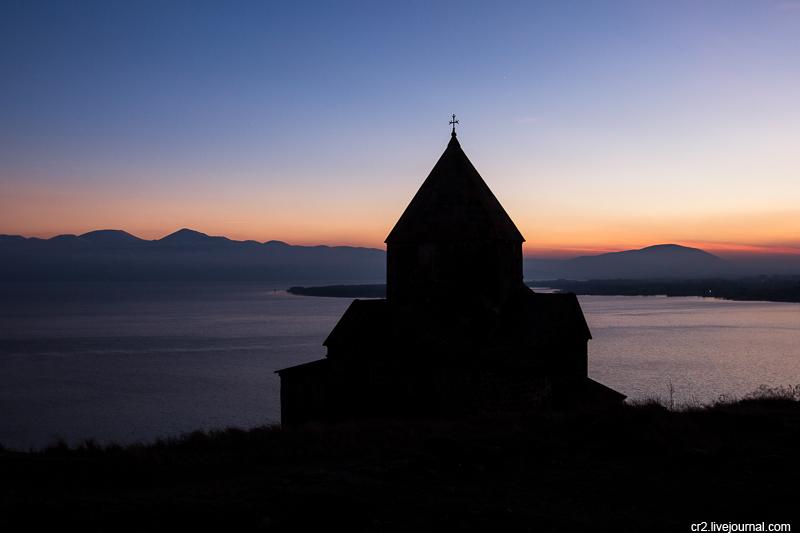 Armenia. Lake Sevan in the evening