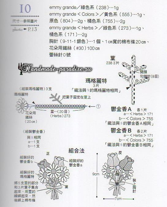 Миниатюрные тюльпаны и ромашки крючком (4)