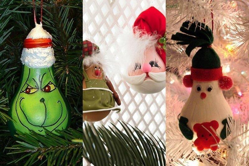 Новогодние украшения: елочные игрушки из лампочек