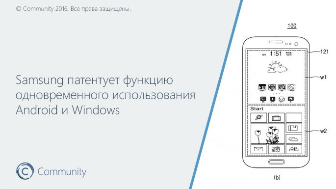 Самсунг запатентовала смартфон с 2-мя одновременно работающимиОС