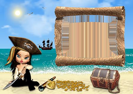 Рамка для фото - девочка-пират с сокровищами