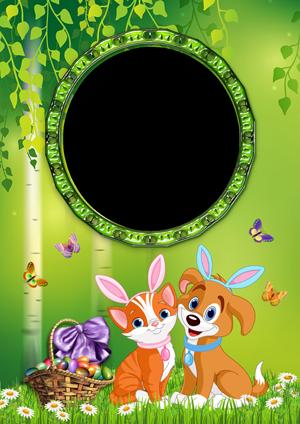 Рамка для фото на Пасху с собачкой и кошечкой на лесной полянке