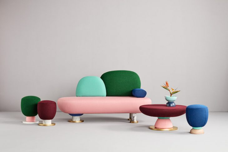 This family of puffs, table and sofa bench represents very clearly what Masquespacio's work is, insp
