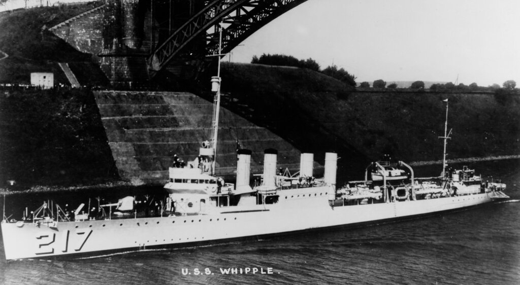 USS Whipple (DD-217). Passing under the Levensau Bridge, while transiting the Kiel Canal, Germany in 1927.