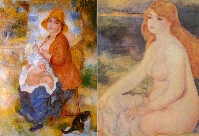 Огюст Ренуар. Слева – *Материнство*, 1886. Справа – *Белокурая купальщица*, 1880-1882