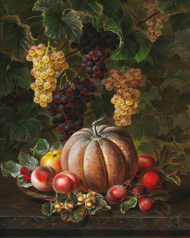 Натюрморт с дыней, яблоком, сливами и орехами