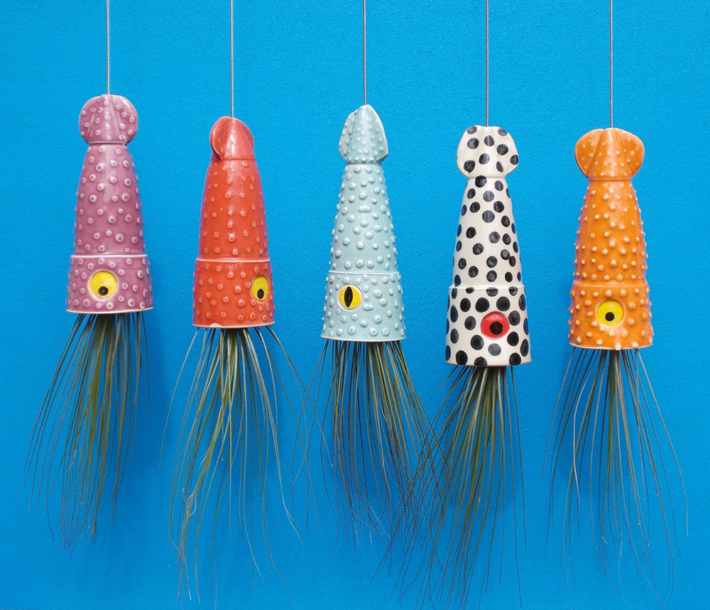 Ceramic Cephalopod and Jellyfish Air Plant Holders by Cindy and James Searles (4 pics)