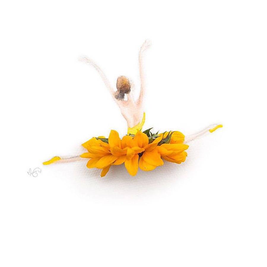 Elegant Drawings Of Girls Wearing Dresses Made Of Real Flower Petals