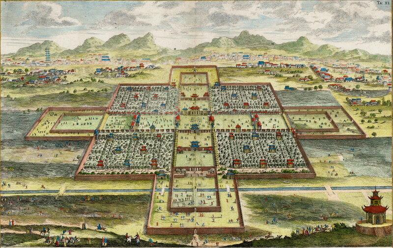 Запретный Город в Пекине: иллюстрация австрийского архитектора Иоганна Бернгарда Фишера фон Эрлаха (1725)