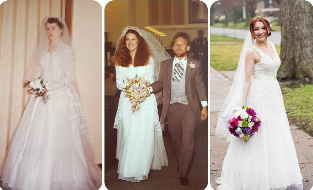 Невеста вышла замуж в том же платье, что её бабушка и мама