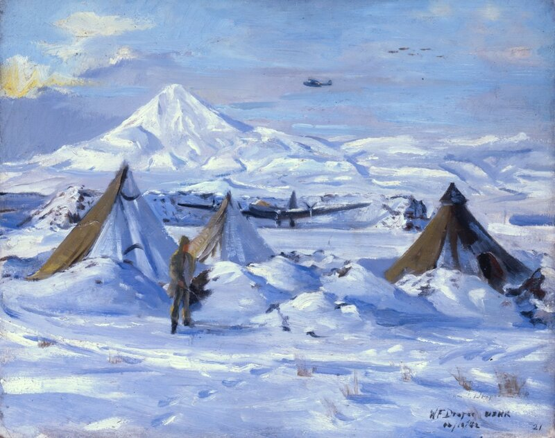 William F. Draper - Sentinels of the North (1942) Before the arctic backdrop of Mt. Tulik.