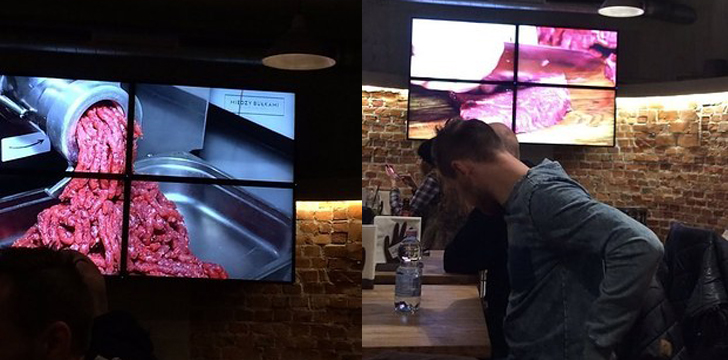 В качестве развлекательной программы в этом баре безостановочно крутят видео, изображающее процесс и