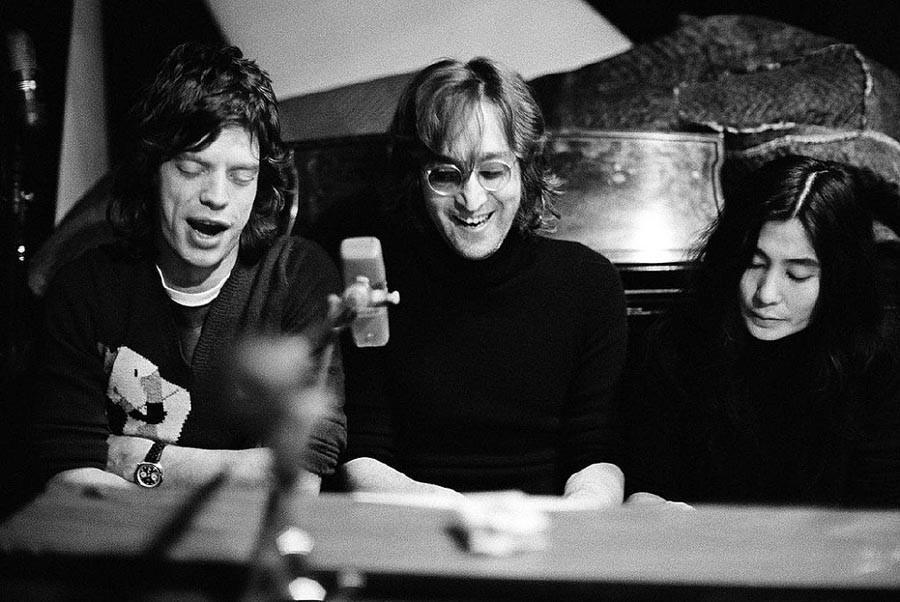 5. Мик Джаггер, Джон Леннон и Йоко Оно, 1972.