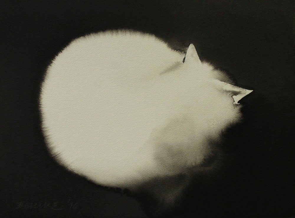 Dreamy New Ink Paintings of Ghostly Felines and Chickens by Endre Penovac