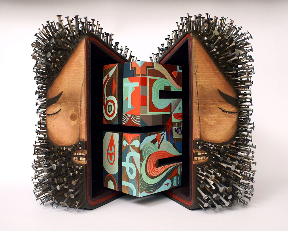 Artist  Jaime Molina  works in 2 , 2.5 , and 3 dimensions, translating his aesthetic from large-scal