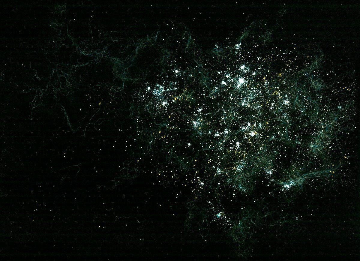 Nebula with gas streams - cat fur, garlic powder, salt, flour, cumin, turmeric