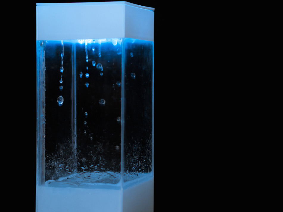 The Tempescope is a novel device designed by Ken Kawamoto that displays the upcoming forecast by sim