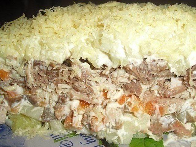 Слоёные салаты с говядиной рецепты с простые и вкусные