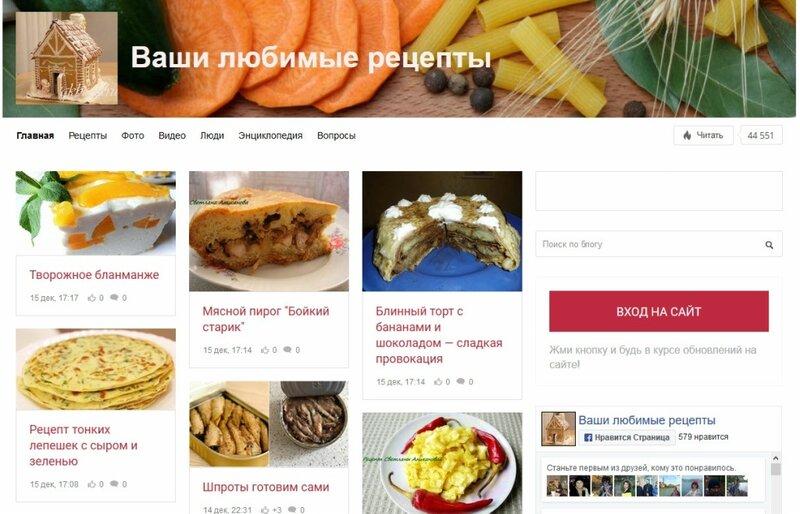 Ваши любимые кулинарные рецепты на Тесном мире
