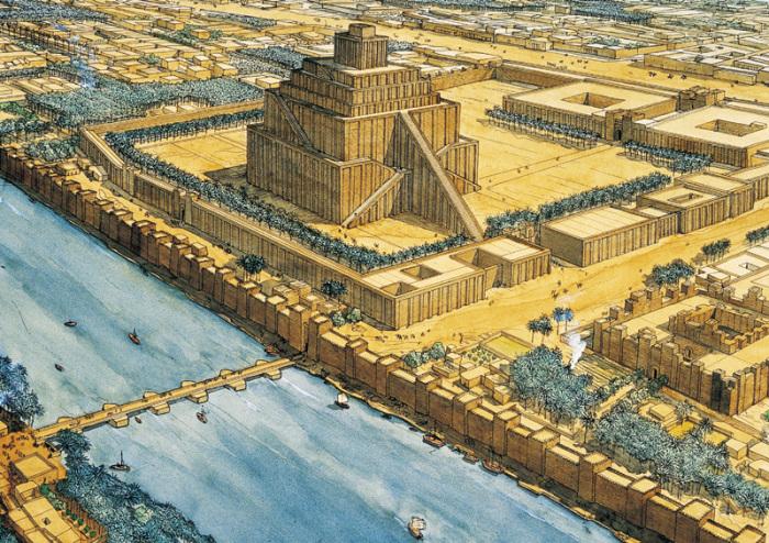 Зиккурат - многоступенчатое сооружение в центре Вавилона.  В центре Вавилона располагался зи