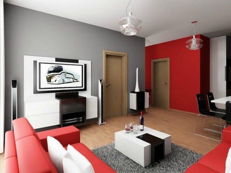 серая гостиная с красной стеной и мебелью