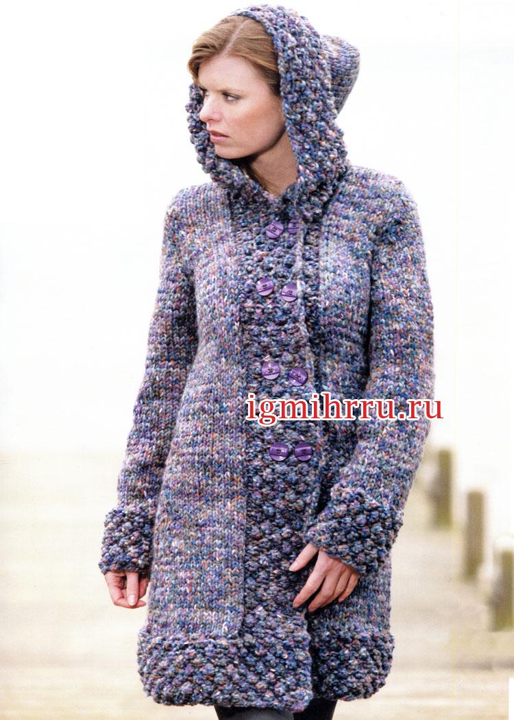 Пальто из твидовой пряжи с капюшоном. Вязание спицами