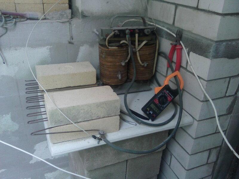 греем бетон сварочником