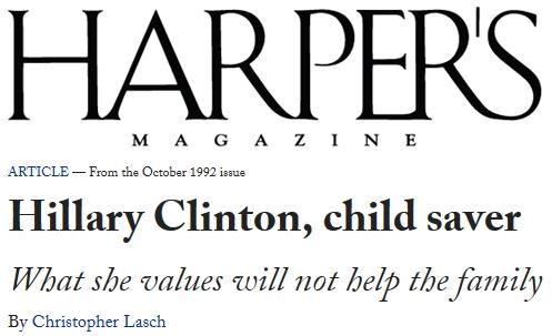 Hillary Clinton, child saver