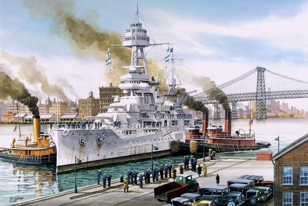 1930 11-30 Acorazado USS Texas en New York - Tom Freeman