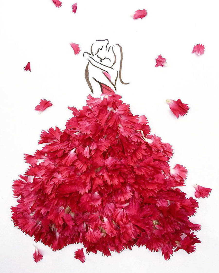 Elegant Drawings Of Girls Wearing Dresses Made Of Real Flower Petals