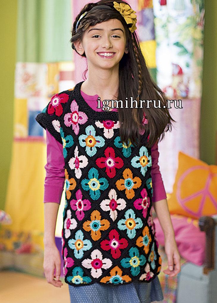 Туника с цветочными мотивами для девочки 9-11 лет. Вязание крючком