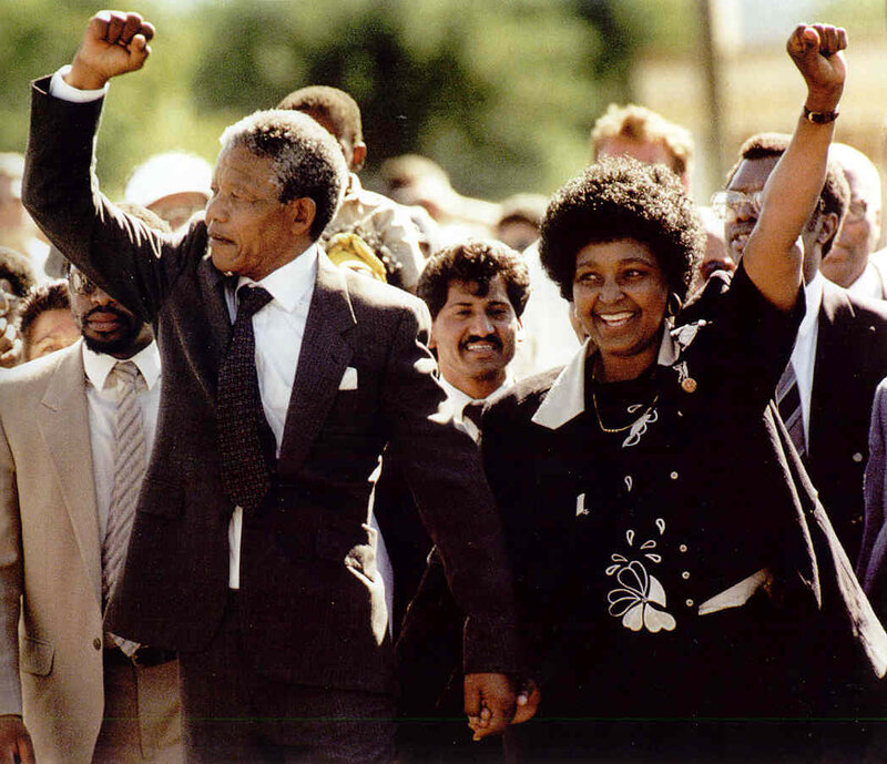 Nelson and Winnie Mandela celebrating his release from 27 years of prison - February 11 1990.jpg