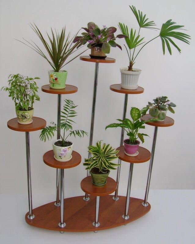 напольные деревянные полки для цветов